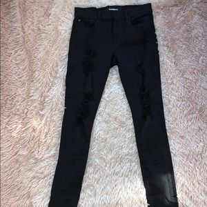 Express Black Ripped Skinny Jeans Mid Rise 4